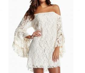 Sexy Collar Sleeve Skirt Lace Dress Lotus Temperament